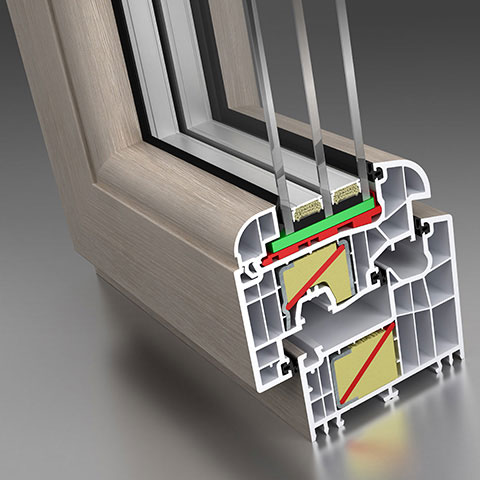 okna ms evolution przekrój ze wzmocnieniem termicznym